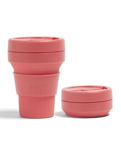 Stojo pocket cup, 12oz, collapsible cup Brooklyn open, Coral