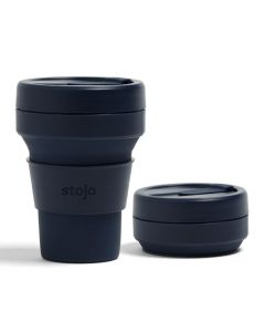 Stojo pocket cup, 12oz, collapsible cup Brooklyn open, Denim