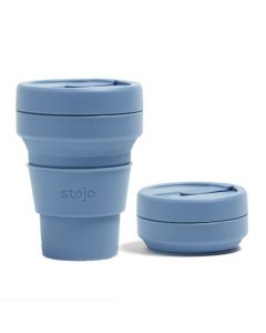 Stojo pocket cup, 12oz, collapsible cup Brooklyn open, Steel Blue