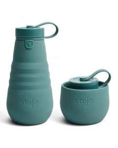Stojo bottle, 20oz, collapsible bottle, open, Eucalyptus