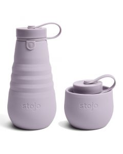 Stojo bottle, 20oz, collapsible bottle, open, Lilac