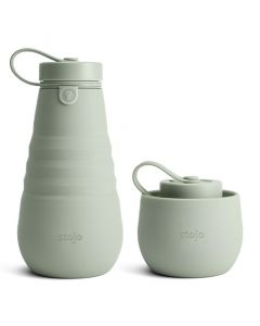 Stojo bottle, 20oz, collapsible bottle, open, Sage
