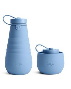 Stojo bottle, 20oz, collapsible bottle, open, Steel Blue
